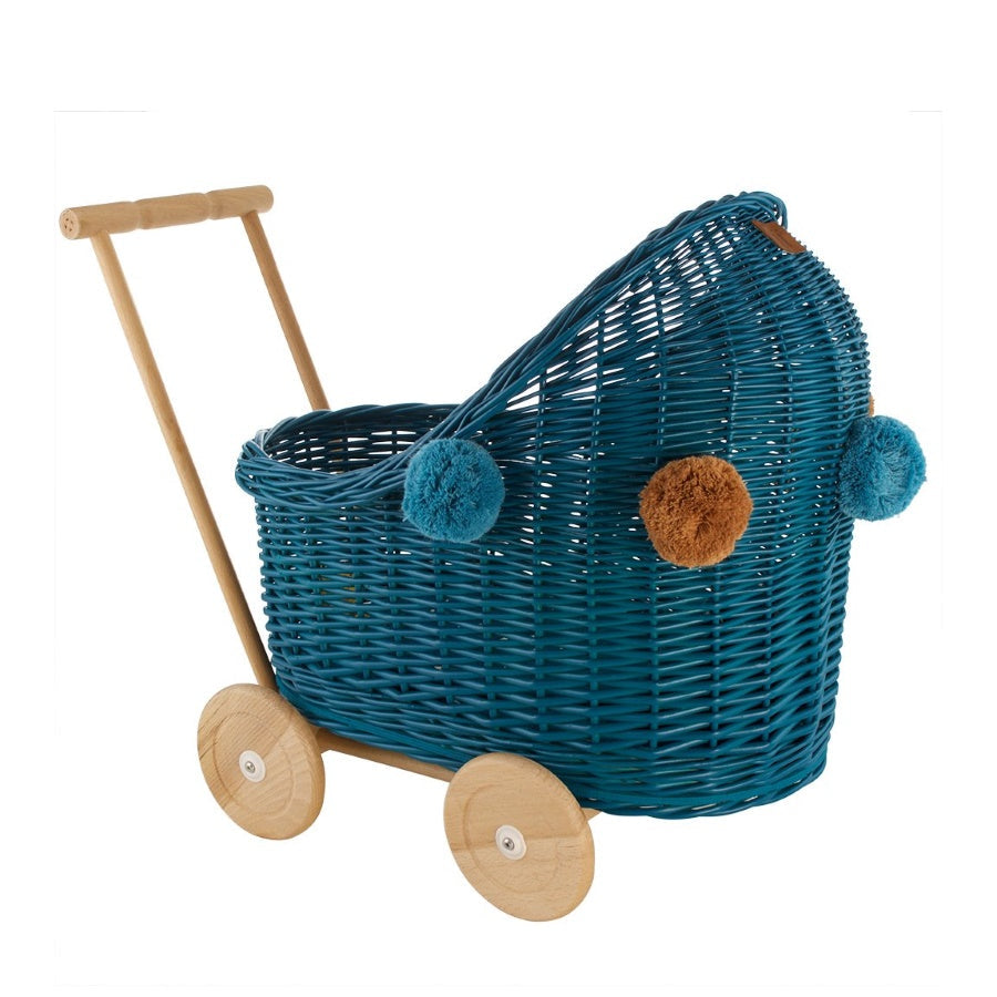 Lilu | Wicker Doll's Pram | Turquoise | Dark Teal Blue