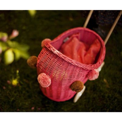 Lilu | Wicker Doll's Pram | Watermelon Deep Pink Red