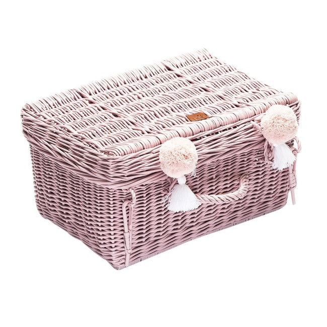 Lilu | Wicker Suitcase | Dusty Pink