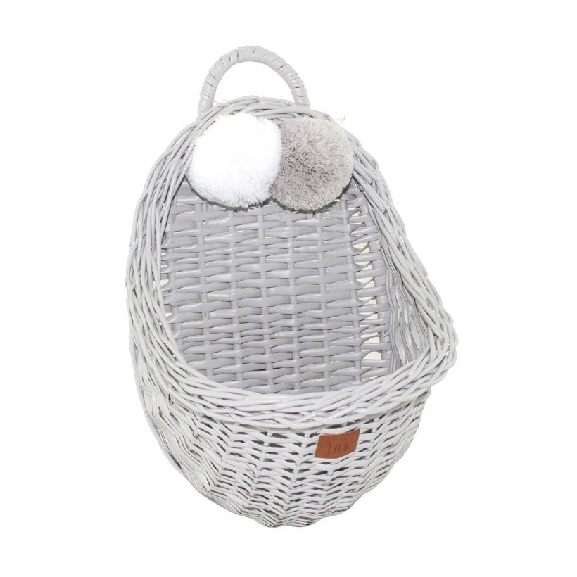 Lilu | Wicker Wall Basket | Grey