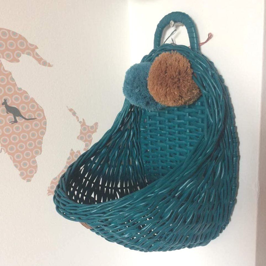 Lilu | Wicker Wall Basket | Turquoise