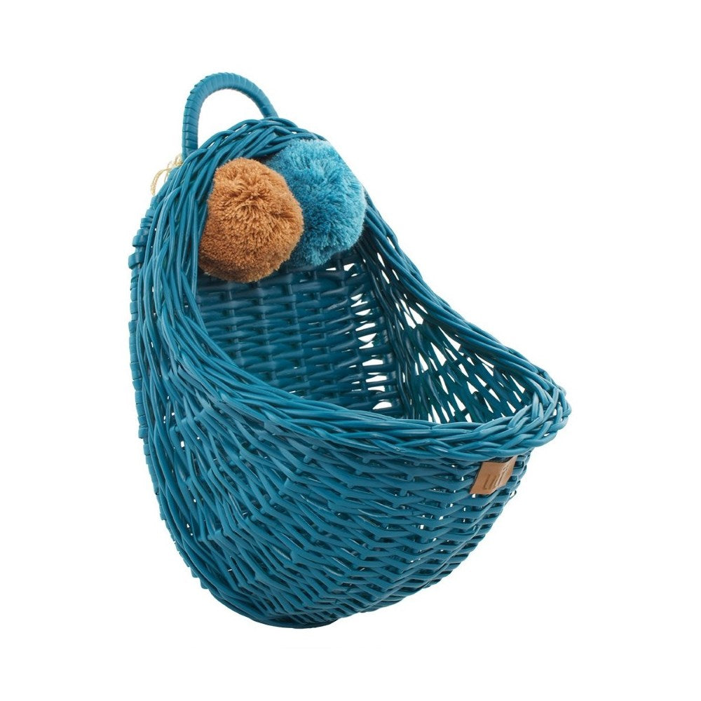 Lilu | Wicker Wall Basket | Turquoise | Dark Teal Blue
