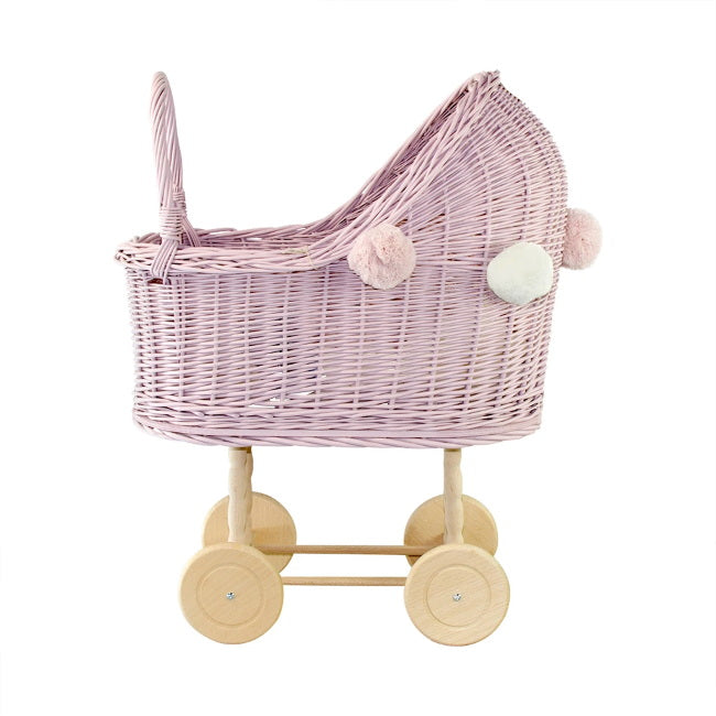 Lilu | High Wicker Doll's Pram | Dusty Pink