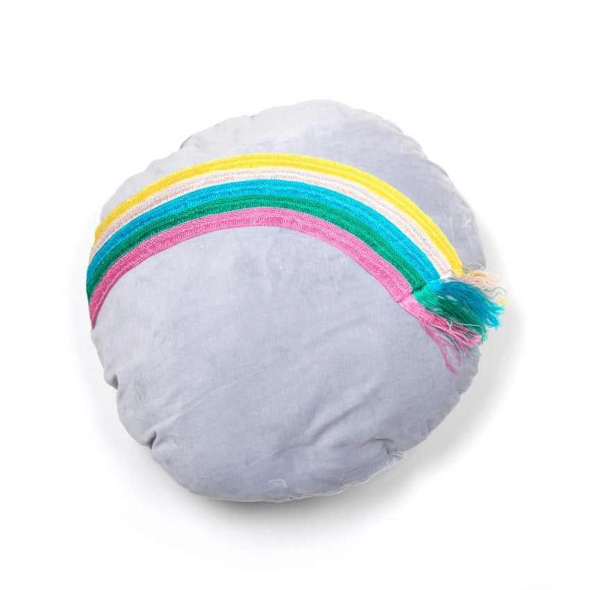 Little P for Little People Rainbow Velvet Cushion | Cloud Grey