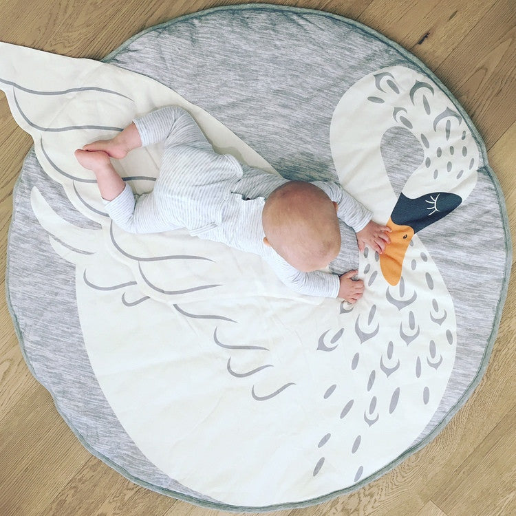 Mister Fly Swan Play Mat in White and Grey