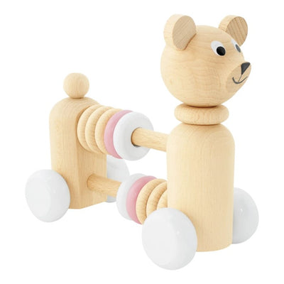 Miva Vacov | Wooden Bear with Beads | Nala Push Along Toy