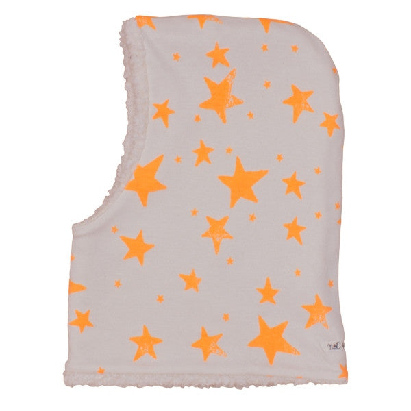 Noé & Zoë | Kid's Ski Mask Beanie | Orange Stars on Beige | Milk Tooth