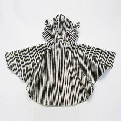 Stripey cape with hood, animal ears and stars - Black & beige cloak - Milk Tooth