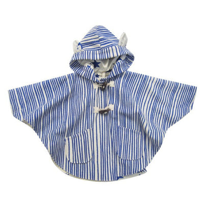 Noé & Zoë kid's hooded cape with ears - Royal blue - Milk Tooth