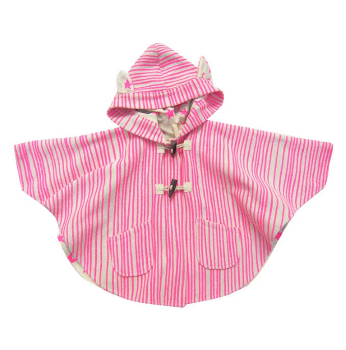 Noé & Zoë kid's hooded cape with ears - Neon pink - Milk Tooth