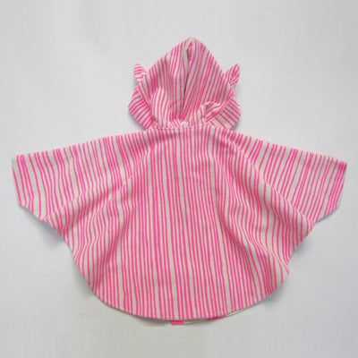 Cape with hood and animal ears for children - Noe & Zoe - bright pink stripes & stars
