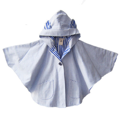 Kid's cape with hood & ears - Noé & Zoë - Chambray & royal blue