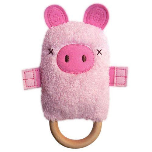 O.B. Designs | Dingaring Baby Teething Toy & Rattle | Patty Pig | Milk Tooth