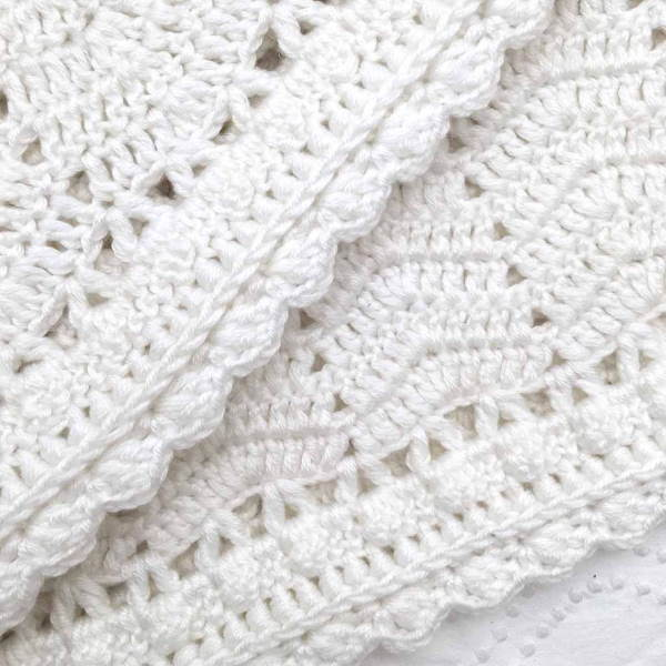 O.B. Designs | Hand Crochet Baby Blanket | White