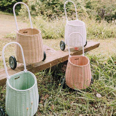 Olli Ella Mint Rose Straw and White Luggy Baskets