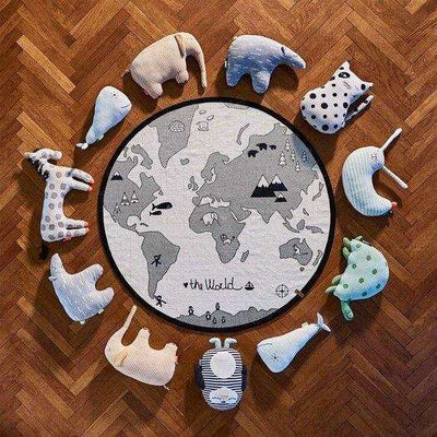 OYOY Living Design The World Rug round play mat with globe and soft toy animals