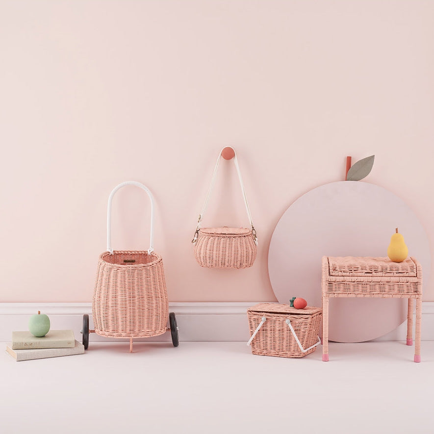 Olli Ella | Storie Stool | Rattan Wicker | Rose Pink