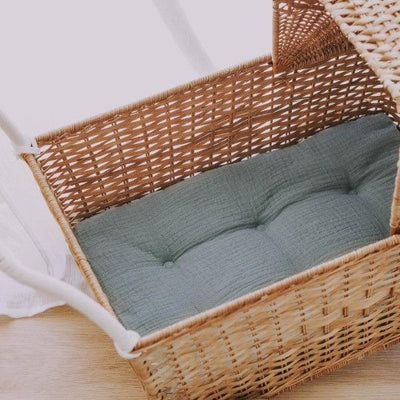 Olli Ella Strolley in Natural Rattan with Sage Green Mattress