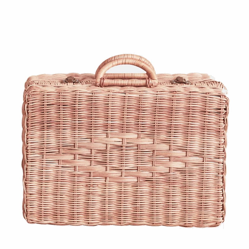 Olli Ella | Toaty Trunk | Rose Pink | Children's Rattan Suitcase Luggage