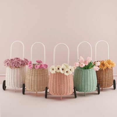 White Straw Rose Mint Natural Luggy Baskets by Olli Ella