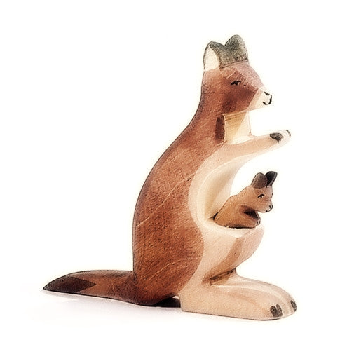 Ostheimer | Wooden Toy | Kangaroo with Baby Joey