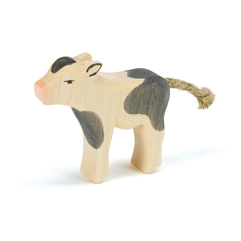 Ostheimer | Wooden Toy | Cows | Calf Black and White Standing