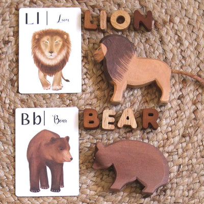 Ostheimer Wooden Animals Toys | Male Lion and Adult Grand Bear