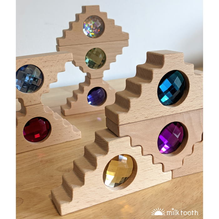 Papoose | Dutch Step Gables | 16 Blocks with Tray | wooden block toys with gems and jewels
