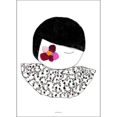 Pax & Hart | Art Print Poster | Blossom | Girl with pink purple berry flowers on her face