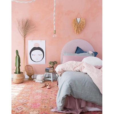 Salmon pink room styled by Team Tonkin featuring Pax and Hart Petal Art Print