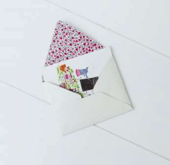Printed envelope included with card