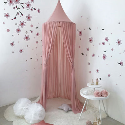 Spinkie Baby | Sheer Canopy | Dusty Pink styled with wall decals and pom garlands