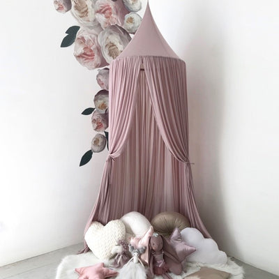 Spinkie Baby | Sheer Canopy | Old Rose styled with wall decals and soft toys