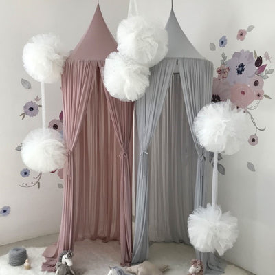 Spinkie Baby | Sheer Canopy | Old Rose styled with grey canopy and floral wall decals