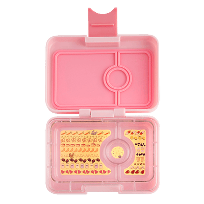 Yumbox MiniSnack Coco Pink Open Showing Tray