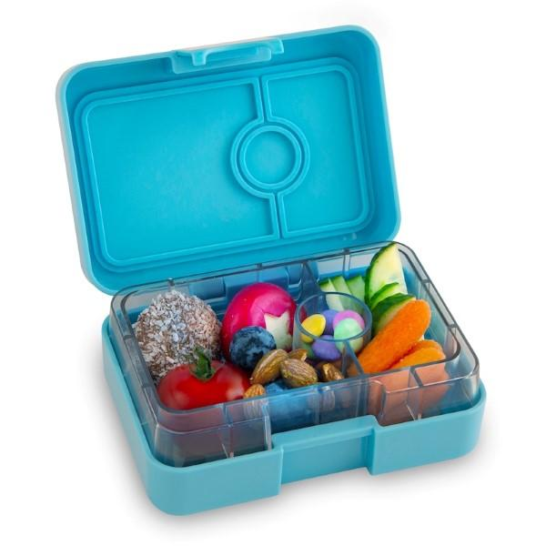 Yumbox | MiniSnack | Bento Box | Nevis Blue filled with food