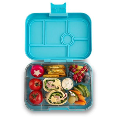 Yumbox | Original Lunch Box | Bento Box | Nevis Blue filled with food