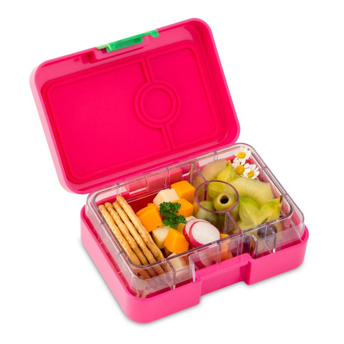 Yumbox MiniSnack Bento Box in Cherie Pink filled with food