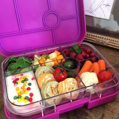 Purple Yumbox in use | Milk Tooth