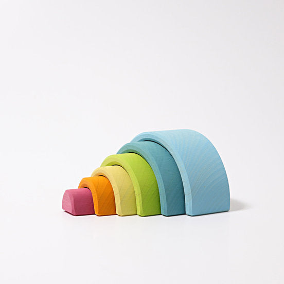Grimm's | Wooden Rainbow Stacking Toy | Pastel | Small