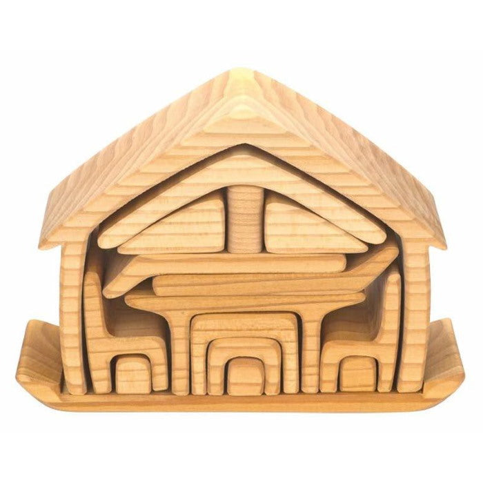 Gluckskafer | All-In House | Natural | Wooden Toy Doll House