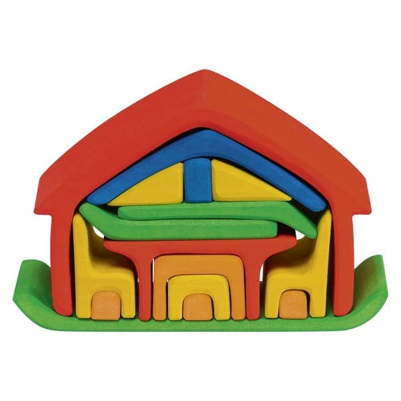Gluckskafer | All-In House | Red | Wooden Toy Doll House