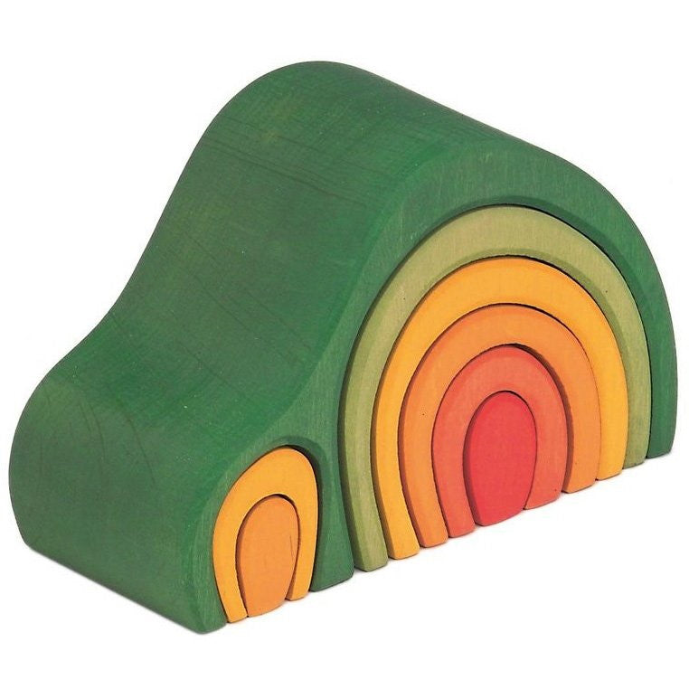 Gluckskafer | Arch House | Green | Wooden Stacking Toy