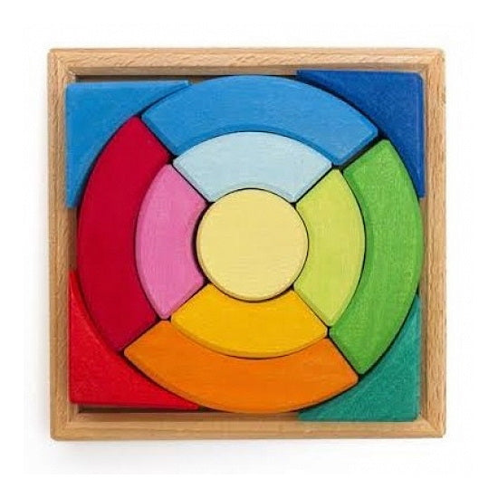 Gluckskafer | Circular Blocks Puzzle with Square Tray