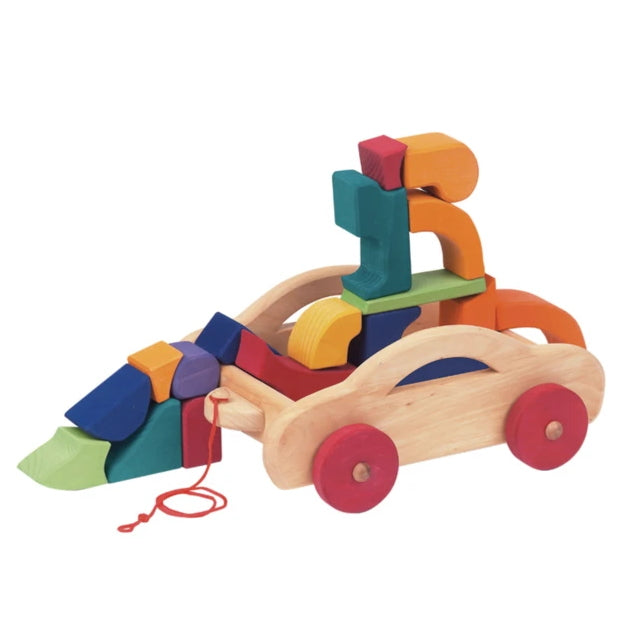 Gluckskafer | Pull Along Car Trolley with Blocks
