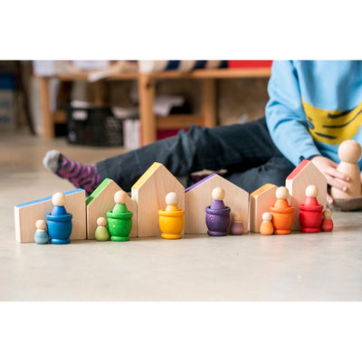 Grapat | 6 Baby Nins | Set of six pastel peg dolls