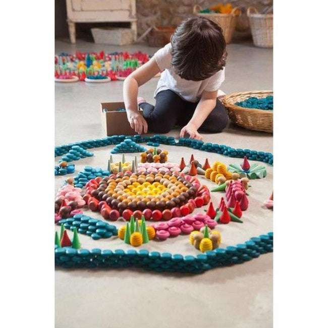 Grapat | Mandala | Little Flowers 36 Pieces | Wooden Toy Set