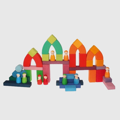 Grimm's | Romanesque Building Set | Wooden Building Blocks with Arches