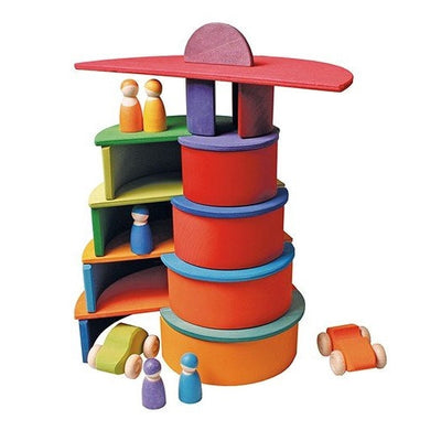 Grimm's | Wooden Rainbow Stacking Toy | Sunset Inverted