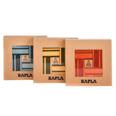 Three different colour sets of 40 pieces of KAPLA wooden building planks
